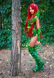 Portrait of Sexy Super Hero Female Cosplay Character. The girl near the tree Royalty Free Stock Photography