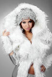 Portrait of sexy winter woman Royalty Free Stock Photo
