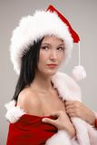 Portrait of sexy woman clothing to Santa Royalty Free Stock Photos