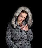 Portrait of sexy woman in gray coat Royalty Free Stock Photos