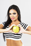 Portrait of  sexy woman holding a green  apple,healthy food conc Royalty Free Stock Photo