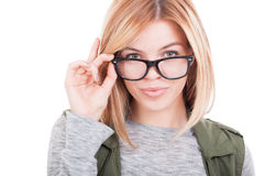 Portrait of sexy woman holding her glasses Royalty Free Stock Photos