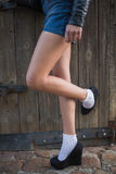 Portrait of woman legs in high heels Royalty Free Stock Photos