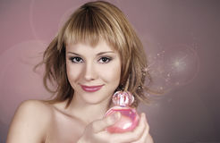Portrait of sexy woman with perfume Stock Images