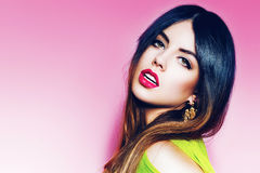 Portrait of sexy woman with pink lips Royalty Free Stock Photos