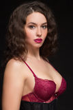 Portrait of sexy woman in red bra Royalty Free Stock Images