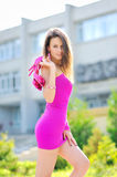 Portrait of sexy woman in short dress Stock Photography