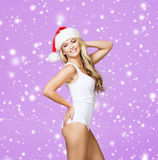 Portrait of a sexy woman in a swimsuit and a Santa hat Royalty Free Stock Photo