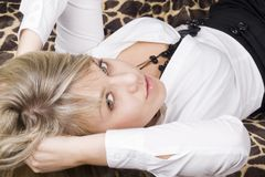 Portrait of the young beauty blonde stock images