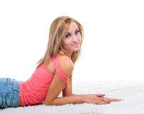 Portrait of sexy young blond woman isolated on Royalty Free Stock Image
