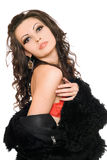 Portrait of sexy young brunette in black coat Royalty Free Stock Image