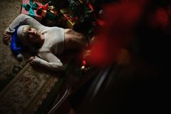 Portrait of sexy young girl lies under Christmas tree with presents.  Stock Image