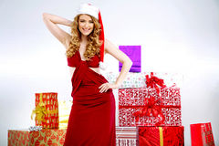 Portrait of sexy young Santa's wife Stock Photos