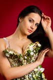 Portrait of a sexy young woman in  corset  against red  backgro Royalty Free Stock Image