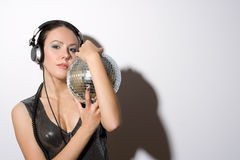 Portrait of sexy young woman in headphones Royalty Free Stock Photography