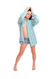 Portrait of sexy young woman in a man's shirt Royalty Free Stock Photo
