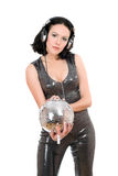 Portrait of sexy young woman with a mirror ball. In her hands Stock Photography