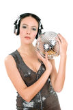 Portrait of sexy young woman. With a mirror ball in her hands. Isolated Royalty Free Stock Images