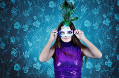 Portrait of Sexy young  woman in a mysterious mask Royalty Free Stock Photography