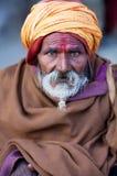Portrait of shaiva sadhu (holy man) royalty free stock photo