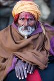 Portrait of shaiva sadhu (holy man) royalty free stock image