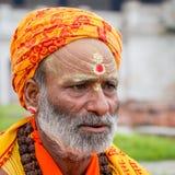 Portrait of Shaiva sadhu, holy man in Pashupatinath Temple, Kathmandu. Nepal Stock Photo