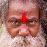 Portrait of Shaiva sadhu, holy man in Pashupatinath Temple, Kathmandu. Nepal Royalty Free Stock Images
