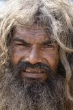 Portrait of Shaiva sadhu, holy man in Varanasi, India Royalty Free Stock Photography