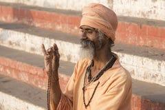 Portrait of Shaiva sadhu, holy man in Varanasi, India Stock Images