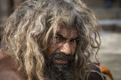 Portrait of Shaiva sadhu, holy man in Varanasi, India Stock Photography