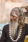 Portrait of Shaiva sadhu, holy man in Varanasi, India Royalty Free Stock Images
