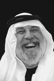 Portrait - The Shiek Laughs. The Sheik is laughing, black and white portrait Royalty Free Stock Images