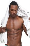 Shirtless African American Man with Towel Stock Photo