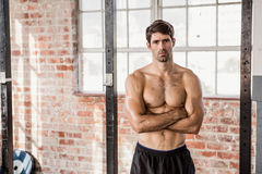 Portrait of a shirtless man with arms crossed Royalty Free Stock Photos