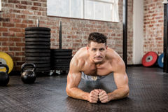 Portrait of a shirtless man doing push ups Royalty Free Stock Images