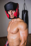 Portrait of a shirtless muscular boxer Stock Photo