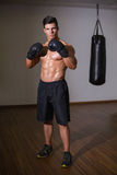 Portrait of a shirtless muscular boxer Royalty Free Stock Photo