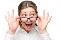 Portrait of shocked businesswoman with glasses Stock Image