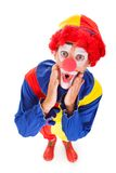 Portrait of a shocked clown Stock Photo