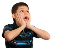 Portrait of a shocked kid Stock Image
