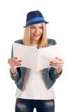Shocked lady reading womens magazine. Portrait of shocked lady reading womens magazine Stock Images