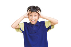 Portrait of shocked little boy with hands on head Royalty Free Stock Image