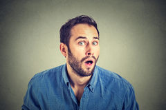 Portrait of a shocked man in full disbelief stock photo
