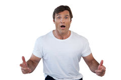 Portrait of shocked mature man gesturing with mouth open Royalty Free Stock Photos