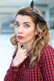 Portrait of shocked pin-up girl royalty free stock photos