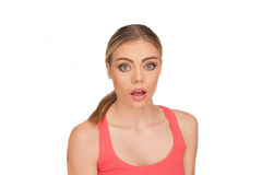 Portrait of a shocked woman on white background Royalty Free Stock Photos