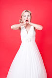 Portrait of shocked young Caucasian woman Stock Images