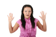 Portrait of a shocked young woman Stock Photos