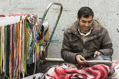 A Portrait of Shoe Repairer Man Beside Street Royalty Free Stock Photo