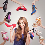 Portrait with shoes Royalty Free Stock Photography